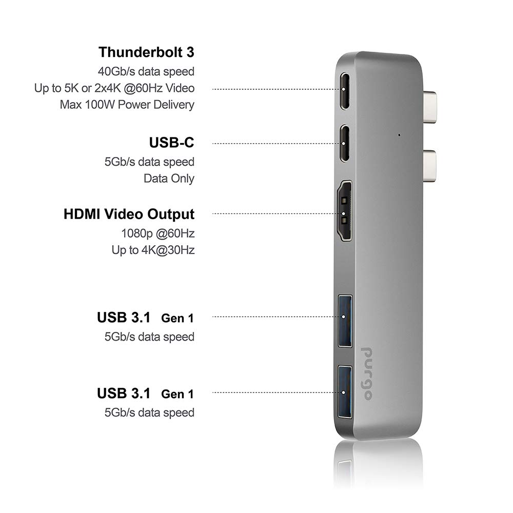 USB C Hub, Purgo Slim Aluminum Thunderbolt 3 USB C Adapter Dongle with 4K HDMI, 40 Gbps TB3 5K@60Hz, 100W Power Delivery and 2 USB 3.1 Ports for 2016/2017 MacBook Pro 13'' and 15''(Space Grey) by Purgo (Image #1)