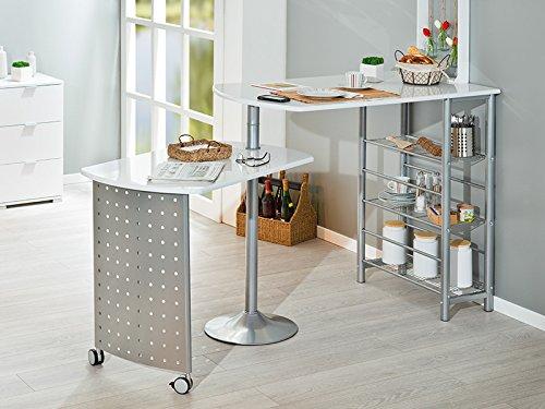 Inter Link Ensemble Tables de bar panneaux de particules blanc brillant et m/étal gris alu