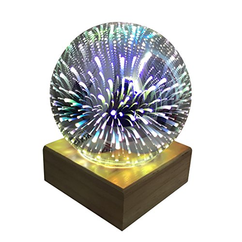 - Tmore Globe Glass 3D Fireworks Night Light Magic Crystal Ball Lamp Colorful Sphere Lights Fireworks Decoration Table lamp DC5V 3W (Fireworks)