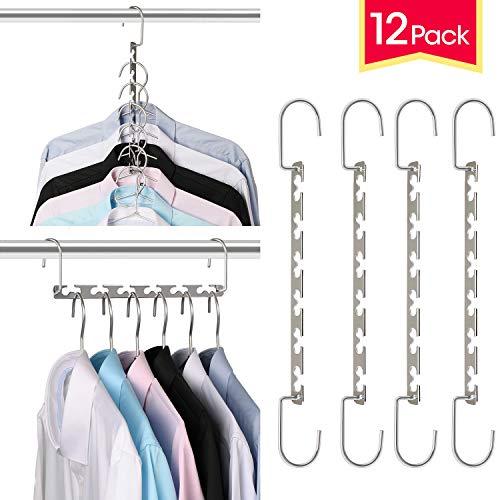 Giftol Space Saving Hangers Metal Wonder Hanger Magic Cascading Hanger Closet Clothes Organizer(12 Pack)