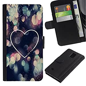 Paccase / Billetera de Cuero Caso del tirón Titular de la tarjeta Carcasa Funda para - Love City Lights Night Heart Minimalist - Samsung Galaxy Note 4 SM-N910