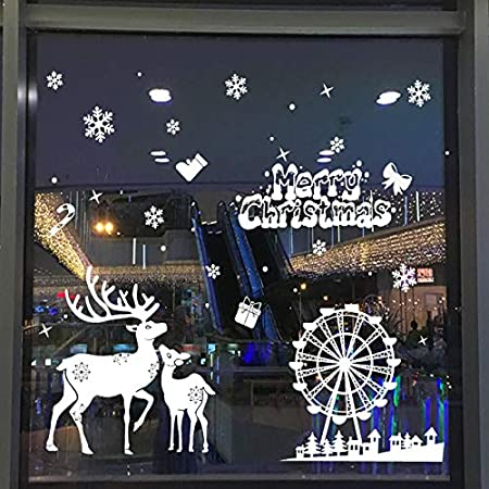 CXvwons Stickers Noël Stickers Muraux fenetre Vitres Decoration de Noël Flocon de Neige Wall Stickers Amovible Autocollants Bonhomme de Neige Decoration Noel Salon vitrine De La Chambre Deco Noel (1)