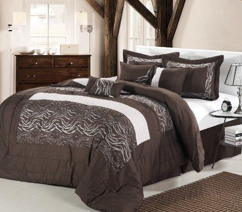 8pc Luxury Bedding Set- ZEBRA BROWN / WHITE - 2515-Queen