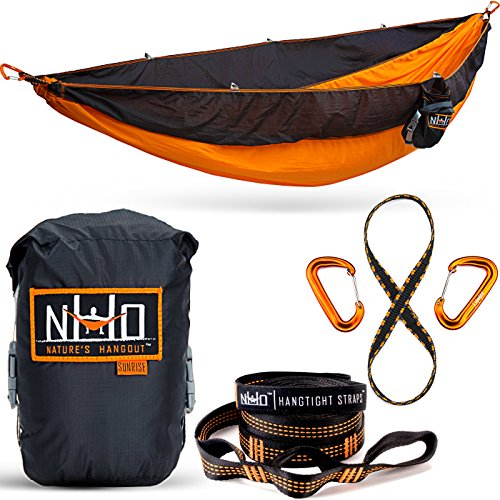 Double Camping Hammock - Portable Two Person Parachute Hammock for Outdoor Hanging. Heavy Duty & Lightweight, Best for Backpacking & Travel. Sunrise Edition (Orange/Black) (People Hanging)