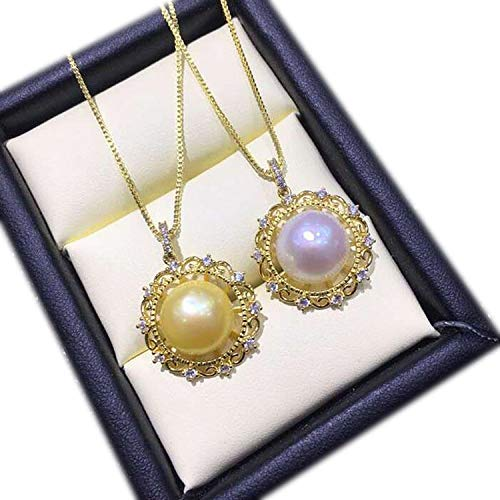 Pearl Pendant Necklace for Women Natural Freshwater Pearl Pendants&Necklaces 925 Sterling Silver Fashion Round Pendant,Pearl Purple