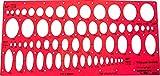 Graphoplex Ellipse Stencil 4Corners 20°/30°/40/50° Clear Orange