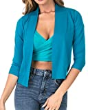Nolabel [B7_034 Women's 3/4 Sleeve Cropped Open Front Draped Shawl Collar Bolero Cardigan Jacket (Teal/3XL)