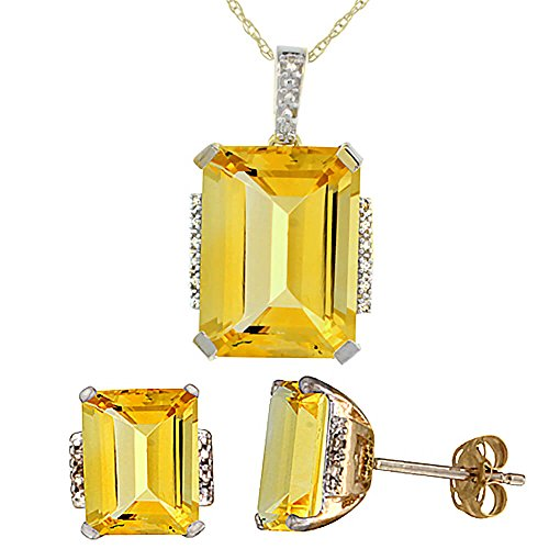 Jewellery World Bague en or jaune 9 carats octogone naturelle Citrine Boucles d'oreilles et pendentif Set Accents de diamant