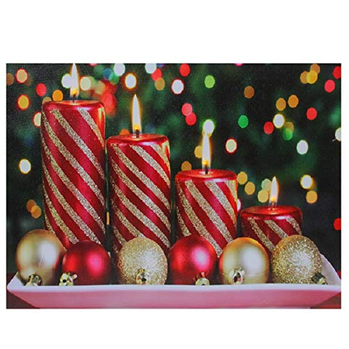 Northlight LED Lighted Christmas Candles with Ornaments Canvas Wall Art 11.75
