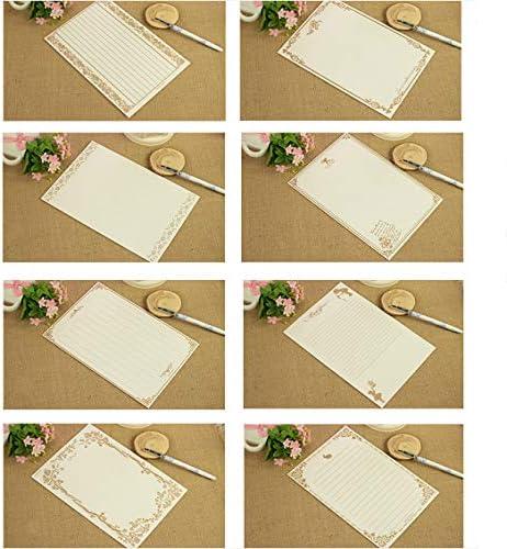 Vintage Kraft Stationery Paper Schwarzes Papier Weißes Papier 5 Packungen à 8 Stück eignen sich für Einladungen, Dankesbriefe, Menüs usw
