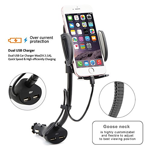 AUOPLUS Cigarette Lighter Phone Holder Car Mount Charger 3.1A Dual USB Ports with Built-in Charging Cord for iPhone by AUOPLUS (Image #6)