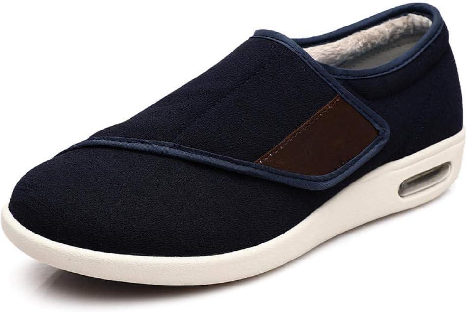 B/H Zapatos ortopédicos quirúrgicos para Mujeres,Otoño e Invierno más Zapatos cálidos de Terciopelo, más Fertilizante Velcro Zapatos Antideslizantes-Tela de Fibra Azul_44, Ajustable de Velcro Zapatos