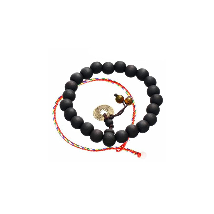 CAT EYE JEWELS Wood Beads Elastic Bracelet, Tibetan Buddhist Black Mala Beads Prayer Tiger Eye Beads Charm Bracelets H46
