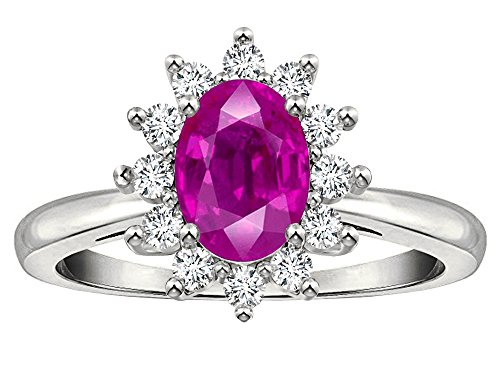 Tommaso Design Oval 7x5 mm Genuine Pink Tourmaline Ring 14 kt White Gold Size 9