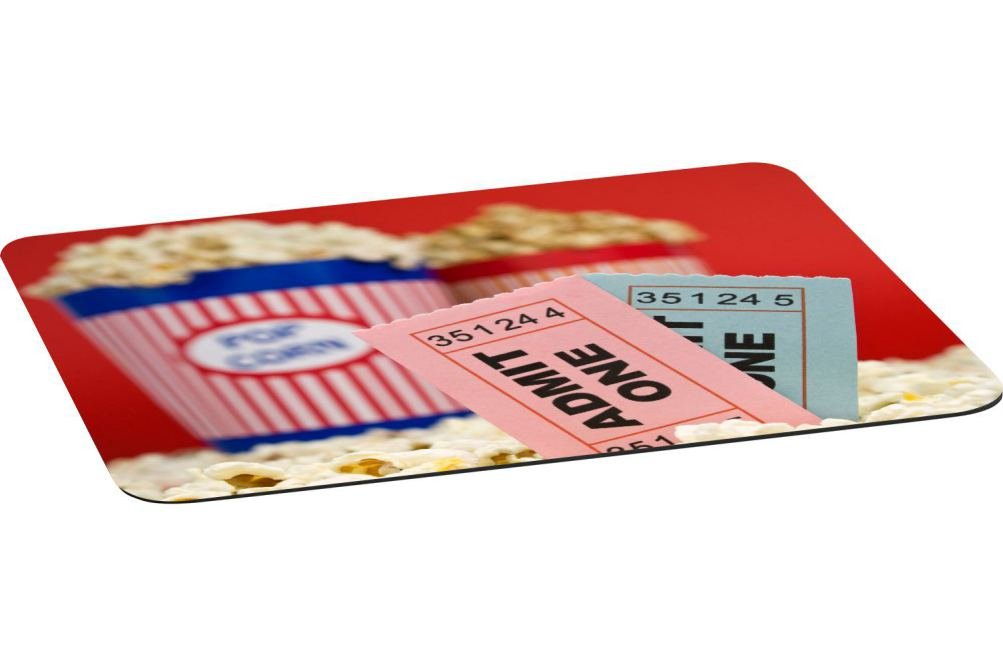 Rikki Knight Movie Stubs and Popcorn Large Non-Slip Fabric Top Table Place Mats with Rubber Backing (set of 2)