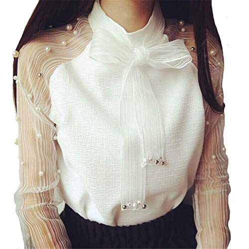 Shirt Women Long Sleeves Elegant Organza Bow Fashion Woman Blouses Chiffon Shirts Female Tops Blusas Femininas (White, -