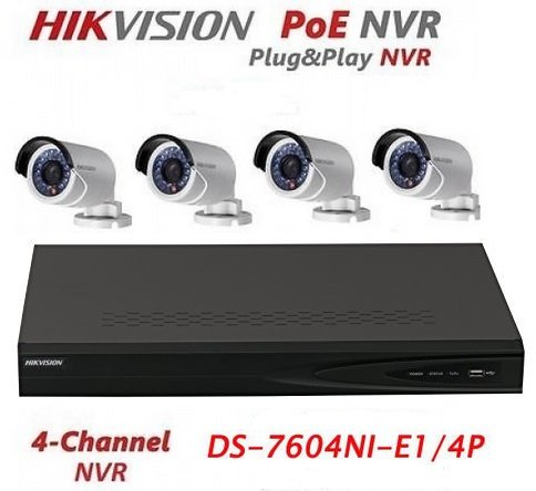 Hikvision DS-7604NI-E1/4P 4CH 4 POE NVR & 4pcs DS-2CD2042WD-I 4MP POE Bullet Camera Kit