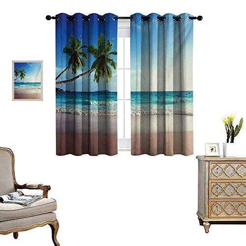 WinfreyDecor Seashore Thermal Insulating Blackout Curtain Splashing Waves on Sandy Beach Coconut Palm Trees Scenic Island View Patterned Drape for Glass Door W72 x L72 Blue Green Pale Brown