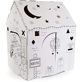 """Easy Playhouse Holiday Cottage - Kids Art & Craft for Indoor Fun, Color, Draw, Doodle on a Festive North Pole House - Decorate & Personalize a Cardboard Fort, 32"""" X 26.5"""" X 40.5"""" - Made in USA, Age 2+"""