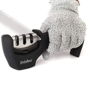 Kitchen Knife Sharpener – 3-Stage Knife Accessory Sharpening Tool Helps Repair, Restore and Polish Blades – Cut-Resistant Glove Included