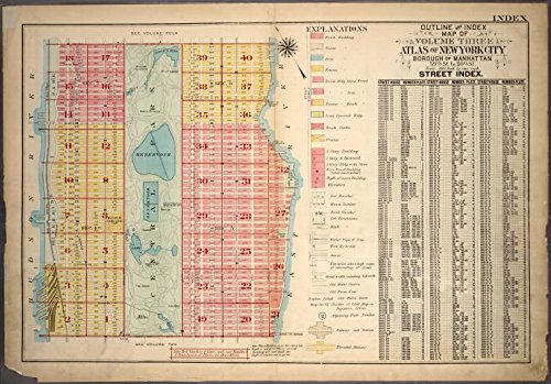 Historic 1921 Map | Outline and Index Map of Atlas of New York City, Borough of Manh | Antique Vintage Map Reproduction