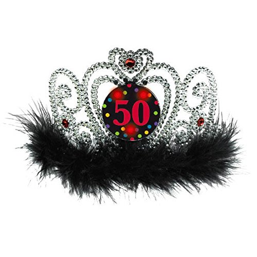 The Party Continuous 50th Birthday Party Flashing Tiara , Silver/Black , 4