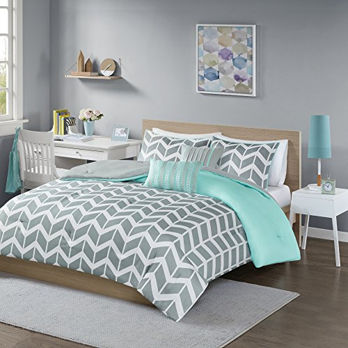 Intelligent Design Nadia Twin/Twin Xl Size Bed Comforter Set – Teal, Chevron – 4 Pieces Bedding Sets – Ultra Soft Microfiber Bedroom Comforters