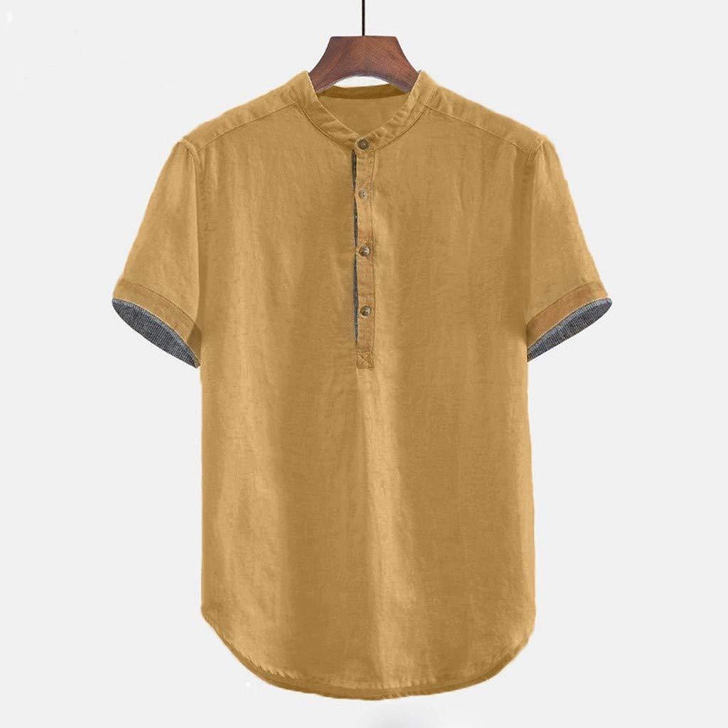 Luckycat Camisas Henley de Manga Corta para Hombre Camiseta de ...