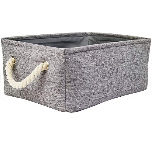 Grey Storage Baskets with Rope Handles, Fabric Decorative Baskets for Gift Empty Storage Bins for Shelves (16.5 x 12.4 x 6.5inch) by Silanto