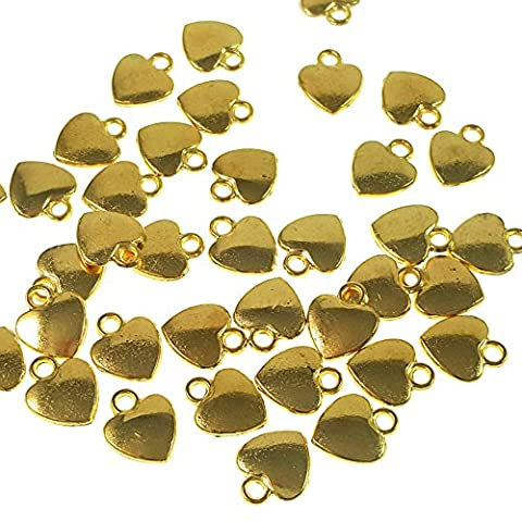 25pc Gold Mini Heart Charms- Jewelry Making- Lead Free- 12mm - Heart Charm Jewelry Finding