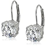 Platinum Plated Sterling Silver Round Cut 7.5mm Cubic Zirconia Leverback Earrings (3 cttw)