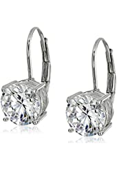 Platinum or 14k Gold Plated Sterling Silver Round-Cut Cubic Zirconia Leverback Earrings (3 cttw)