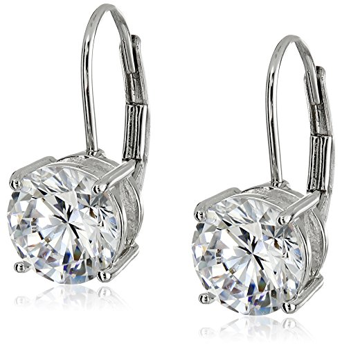 Silver Leverback Cubic Zirconia Earrings - Platinum Plated Sterling Silver Round 7.5mm Cubic Zirconia Leverback Earrings