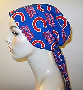 Chicago Cubs PreTied Scarf Chemo Hat Alopecia Head Cover Cancer Scarf