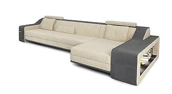 Sofa Couch Stoff Wohnlandschaft Modern Design Ecksofa L Form Mit Led