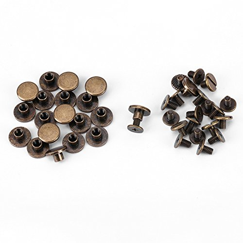 20 Sets 5mm 6.5mm 8mm Brass Assorted Kit Screw Posts Metal Accessories Nail Rivet Button for DIY Leather Decoration Bookbinding Slotted Flat Head Stud Screw ()