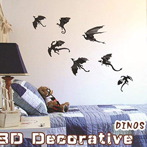 LONGTEN 49PCS DIY Halloween Party Supplies PVC 3D Decorative Scary Dragon Wall Decal Wall Sticker Halloween Eve Decor Home Window Decoration Set Black -