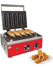 ALDKitchen Hotdog Waffle Maker   Waffle Iron for Corn Dogs   Stainless Steel   Waffles on a Stick   110V (Five Waffles)