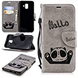 Misteem Cartoon Case for Samsung Galaxy A6 Plus 2018, Cute Retro Panda Pattern Leather Cases Flip Shockproof with Card Holder Bookstyle / Stand / Magnetic Wallet Cover Protector for Samsung Galaxy A6 Plus 2018 - Panda Grey