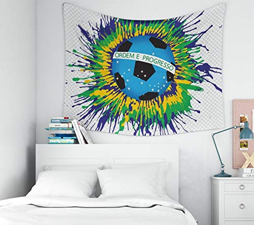 TOMWISH Home Decor Tapestry, Popular Hanging Wall Tapestry Decorations Bedroom and Home Décor Dorm Illustration Abstract Background Football Soccer Form Watercolor in Color Themes Idea 60x50 -
