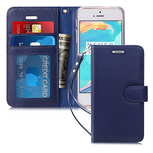 FYY [Luxury Genuine Leather] Wallet Case for iPhone SE/iPhone 5S/iPhone 5 Case, [Kickstand Feature] Flip Folio Case Cover with [Card Slots] and [Note Pockets] for Apple iPhone SE/5S/5 Navy Blue (Best Mobile Plan For Iphone 5)