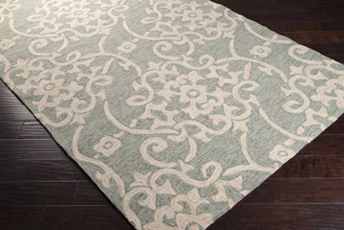 All Weather Damask Rug (Surya Rain RAI-1103 Classic Hand Hooked 100% Polypropylene Moss 8' x 10' Paisleys and Damasks Area Rug)