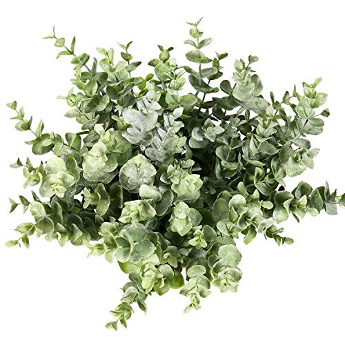 Flojery 4Pcs Artificial Boxwood Plants Greenery Eucalyptus Fake Foliage Plant Faux Shrub Bushes for Indoor Outdoor Decor (Green)
