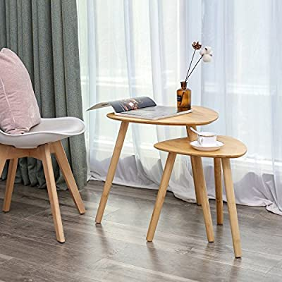 SONGMICS Set of 2 Bamboo Wood Nesting Table Nightstand End Table, Coffee Table, Side Table Modern Furniture Decor for Living Room Balcony Home and Office ULNT352N