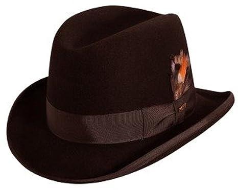 5a7178e6 Scala Classico Men's Wool Felt Homburg Hat, Brown, L at Amazon Men's ...