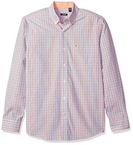 IZOD Men's Essential Check Long Sleeve Shirt, Arabesque, Medium - Izod Mens Dress Shirts