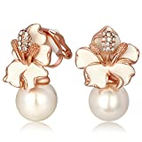 Kemstone Rose Gold Simulated Pearl White Flower Clip On Earrings