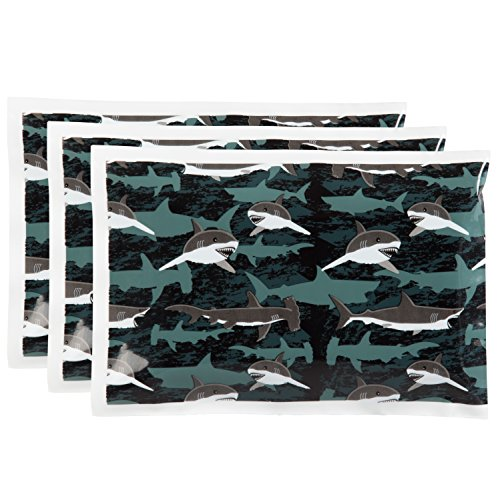 "Bentology - Reuseable Ice Pack for Lunch Boxes (3 Pack) - (6"" x 4.5"") (Sharks)"