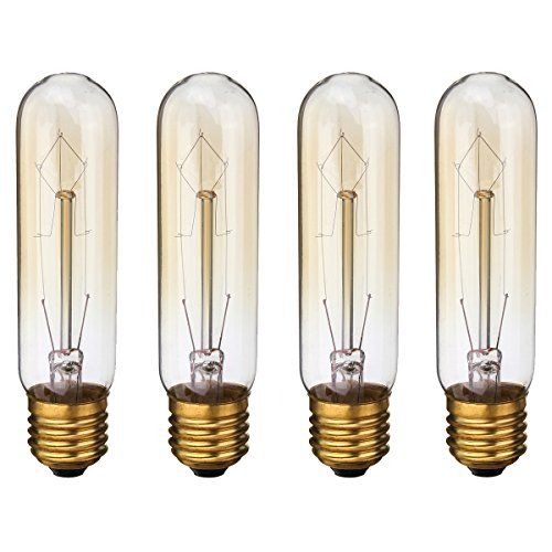KINGSO Vintage Edison Bulbs 60W Tubular Nostalgic Filament Incandescent Antique Dimmable Light Bulb for Home Light Fixtures E27 Base T10 110V - 4 Pack (60w Edison Tubular Light Bulb compare prices)