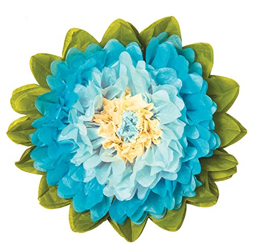 Luna Bazaar Extra Large Tissue Paper Flower (20-Inch, Ice Blue & Turquoise Blue) ()